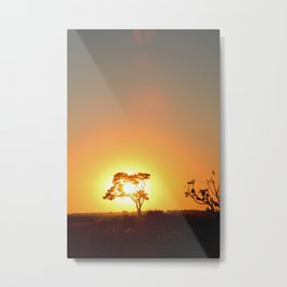 Sunset on the African Savanna Metal Print