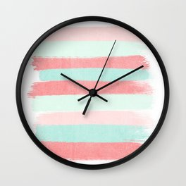 Painterly Stripes abstract trendy colors gender neutral seaside coral tropical minimal Wall Clock