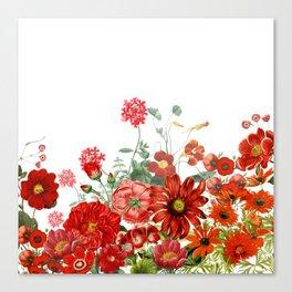 Vintage & Shabby Chic - Red Summer Flower Garden Canvas Print