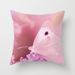 Beautiful Pink Butterfly Animal Dreamy Nature Photo Throw Pillow