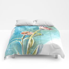 Blooms on Turquoise Comforters