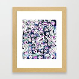 Ahegao Hentai Girls Anime Manga Collage Multicolor Framed Art Print