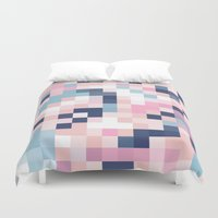 Map Blush And Blue Duvet Cover
