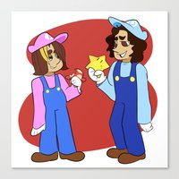 game grumps Canvas Prints featuring Game Grumps Mario Crossover by hokagesama