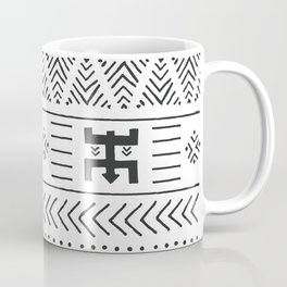 Black and white tribal ethnic pattern with geometric elements, traditional African mud cloth, tribal Coffee Mug