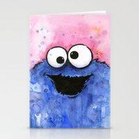 cookie monster Stationery Cards featuring Cookie Monster by Olechka
