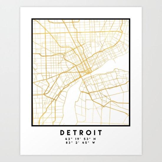 DETROIT MICHIGAN CITY STREET MAP ART by deificusart