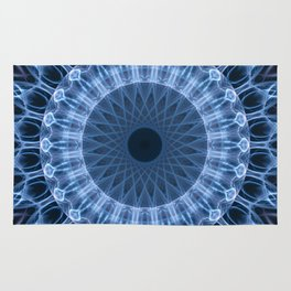 Blue glowing mandala Rug