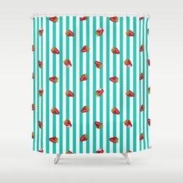 Sassy Strawberry Stripes Shower Curtain