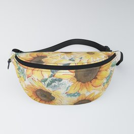 Loose Watercolor Sunflowers Fanny Pack