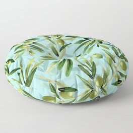 mediterranean summer olive branches on turquoise Floor Pillow