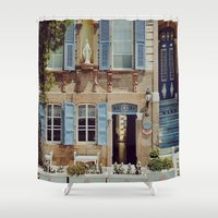 jewish Shower Curtains featuring Blue Shutters in the Sun by Brown Eyed Lady