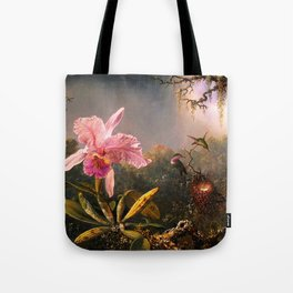 Martin Johnson Heade Cattleya Orchid and Three Brazilian Hummingbirds Tote Bag