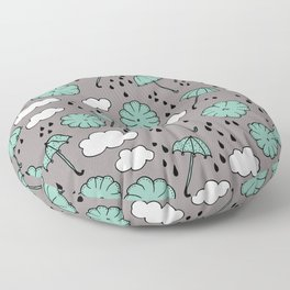 Blue umbrella sky rainy day abstract fall illustration pattern blue Floor Pillow