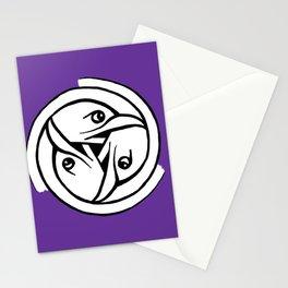 Celtic Art - Bird Head Triskele - on Purple Stationery Cards