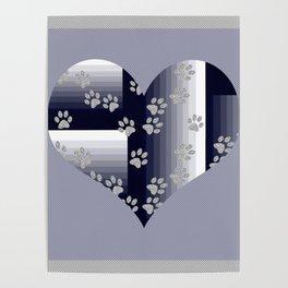 Purple Heart Pet Tracks Poster