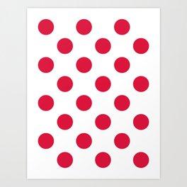 Large Polka Dots - Crimson Red on White Art Print