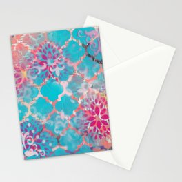 Mixed Media Layered Patterns - Turquoise, Pink & Coral Stationery Cards