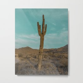 Saguaro // Desert Landscape Photography Arizona Teal Blue Sky National Park Cactus Vibes Metal Print