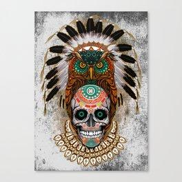 Indian Native Owl Sugar Skull Canvas Print