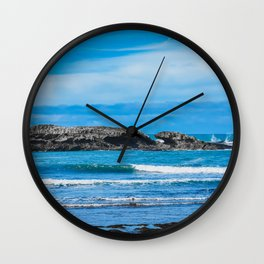 Blue Ocean Waves. Travel Photography. Wall Clock