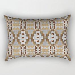 Brown Gray Tribal Kilim Mosaic Pattern Rectangular Pillow