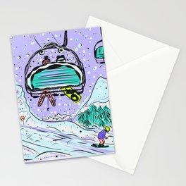 Winter snow alpine wonderland illustration Stationery Cards