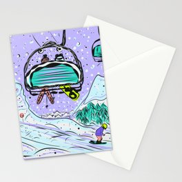 Winter snow alpine wonderland illustration Stationery Cards
