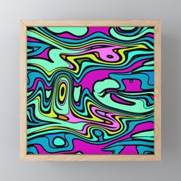 Cartoon wavy psychedelic irregular lines Framed Mini Art Print