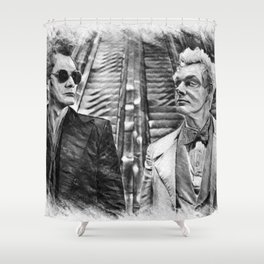 Crowley and Aziraphale Ineffable Husbands Shower Curtain