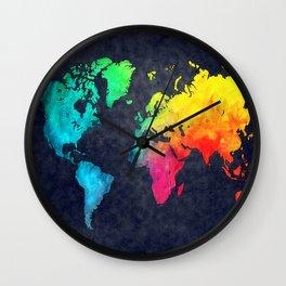 World map watercolor 6 Wall Clock