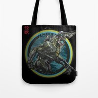 pacific rim Tote Bags featuring Knifehead - Pacific Rim by Leamartes