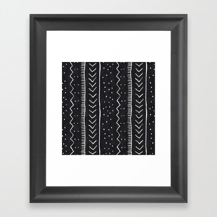 Moroccan Stripe in Black and White Gerahmter Kunstdruck