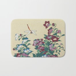 Hokusai (1760-1849) Bell-flowers and Dragonfly Bath Mat