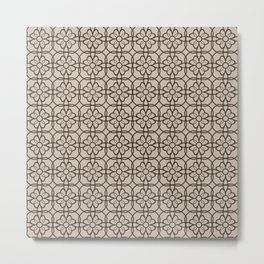 Brown & Beige Flourish Pattern Metal Print