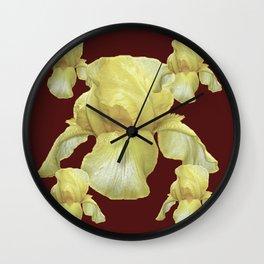 PALE YELLOW IRIS ON BURGUNDY COLOR Wall Clock