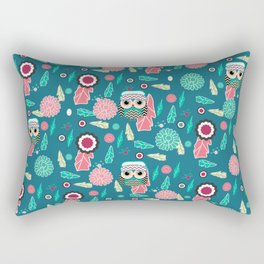Owls and flowers in blue Rectangular Pillow