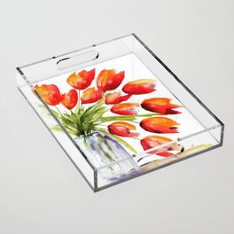 Tulips Overflowing Acrylic Tray