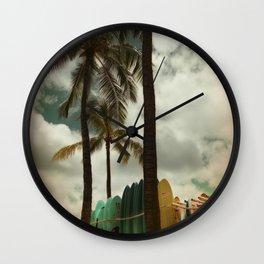 Surfing Waikiki Wall Clock