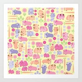 Pastel Guinea Pig Vegetable Patch Art Print