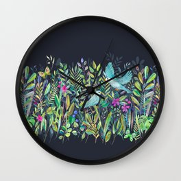 Little Garden Birds in Watercolor Wall Clock