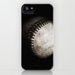 Battered Baseball in Black and White iPhone Case