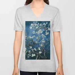 Van Gogh Almond Blossoms : Ocean Blue Unisex V-Neck