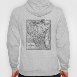 Vintage Map of Wisconsin (1859) BW Hoody