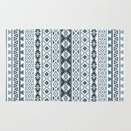 Aztec Stylized Pattern Gray-Blues & White Rug