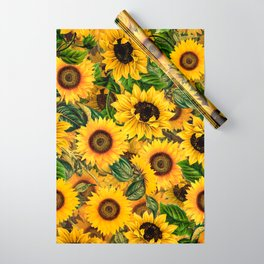 Vintage & Shabby Chic - Noon Sunflowers Garden Wrapping Paper