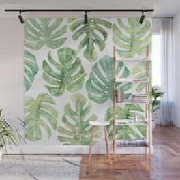 Monstera leaves Jungle leaves Palm leaves Tropical Wall Mural