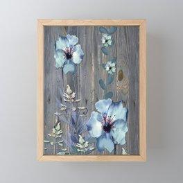 Rustic Barn Wood Series: Watercolor Flower Vines Framed Mini Art Print