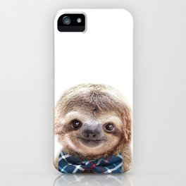 Baby Sloth With Bow Tie, Baby Animals Art Print By Synplus iPhone Case