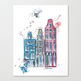 Watercolor Amsterdam Houses Whimsical Art Canvas Print